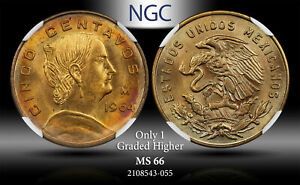 1964-MO MEXICO 5 CENTAVOS NGC MS 66 ONLY 1 GRADED HIGHER TONED