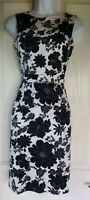 Womens F&f Dress size 8 black white pencil floral party occasion work holiday