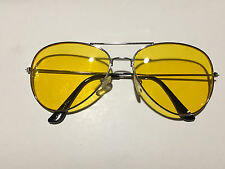 Silver HD Aviator Yellow Lens Glasses Sunglasses NEW Night Vision Drive Metal