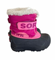 Sorel Snow Commander Boots Size 10 Toddler Girls Pink And Black  Winter Cub