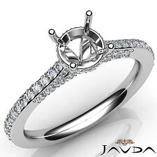 Round Cut Semi Mount Diamond Engagement Pave Setting Ring 14k White Gold 0.65Ct