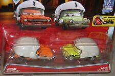 """DISNEY PIXAR CARS """"2-PACK GREM WITH HELMET & ACER WITH HELMET"""" NEW IN PACKAGE"""