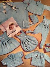 Baby Knitting Pattern copy COAT Leggings Bonnet Bootees Dress Bolero