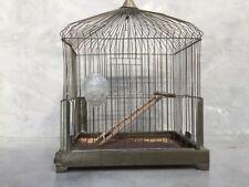 Antique Vintage Brass Hanging Cage Bird & Brass Stand with glass bird feeder