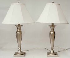 PAIR of Contemporary Silver Brushed Chrome Table Lamp Lamps 28""