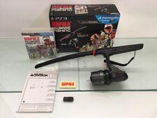 PS3 Rapala Pro Bass Fishing Wireless w/ Fishing Pole Controller Dongle Box