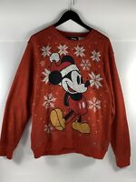 Disney Mickey Mouse Santa Hat Snowflakes Christmas Sweatshirt Mens Large Red
