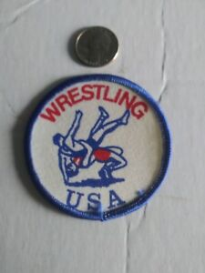 AAU  USA WRESTLING Patch vintage rare flag red white blue