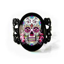 Pink Day of the Dead Sugar Skull Jet Black Dia De Los Muertos Filigree Ring
