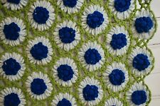 Vintage Hand Crocheted 3D Daisy Afghan Scalloped Edge 57x76 Beautiful Blue Green