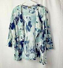 Easywear By Chicos Womens Fly Away Cardigan Size 2 Blue White Flared Sleeves