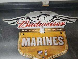 Budweiser Beer Sign US Marines Tin Metal Embossed Exceptional!