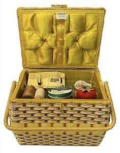 VTG JC Penney Sewing Box, Threads, Pin Cushions, Portable Sewing Machine, & More