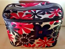 New Modela Make-up Cosmetic Toiletry Bath Storage Bag Pink & Black Flowers