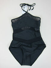 b4551191410 Boohoo Chile Mesh Detail Halterneck Swimsuit - Womens US 6 - Black - NWT