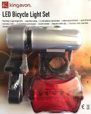 LED BICYCLE CYCLE LIGHTS DELUXE SET FRONT & REAR BIKE SEVEN MODES FLASH & STATIC