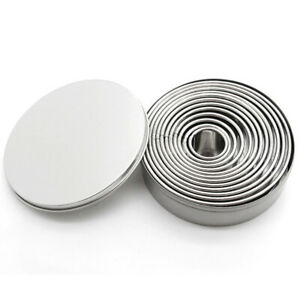 12x Stainless Steel Ring Round Cake Mould Doughnut Fondant Molds Baking Tool'F