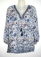 TOM TAILOR: NAVY MIX FLORAL TUNIC  BOHO HIPPY TOP  SIZE 10 / EURO 38