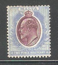 Malta 1903,KE-VII,2 1/2p,Sc 24,VF Mint Previously Hinged*OG,Signed ! (MT-1)