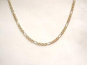 "LQQK Beautiful 14K Multi 3-color Gold Figaro Chain Necklace 20.25"" long Unisex"