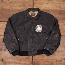 "Mens Levis Vintage Leather USA Eagle Flight Bomber Jacket Black L 46"" R3819"
