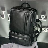 """Men's Faux Leather Business Backpack Rucksack 15.6"""" Laptop Bag School Travel Bag"""