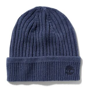 TIMBERLAND RIBBED KNIT BEANIE FOR MEN IN NAVY BLUE
