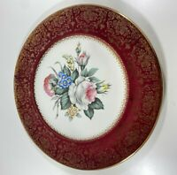 Imperial By Salem China Co. Plates 23 Karat Gold Trim Floral Pattern USA