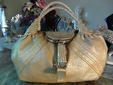 SALE!!! US SELLER!!! Authentic FENDI GOLD LEATHER SPY BAG PURSE usable