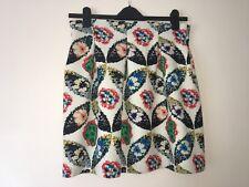 Short-Flared Lined Floral Skirt Size 12