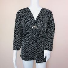 Josephine Chaus XL Top NEW Black Lace V Neck 3/4 Sleeve