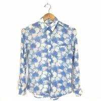 Equipment Femme Womens approx XS Button Up Silk Shirt Blue Heart Cloud Print B9