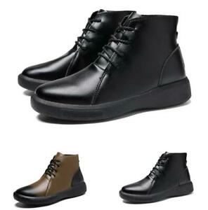 38-44 Mens High Top Tooling Ankle Boots Shoes Chukka Lace up Biker Walking New D
