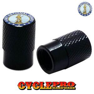 2 Black Billet Knurled Tire Valve Cap Motorcycle - ARMY GUARD - 066