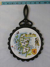 Vintage Scotland Kitchen Trivet Ceramic Tile Oriental Cast Iron Souvenir
