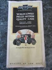 CHEVROLET BROCHURE 1920s ? PRICES SPECS BODY BY FISHER TRUCK CHASSIS CARS FOLDS