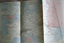 ALLIED FORCES 3 EUROPEAN FRONTS 1944 HISTORIC FOLDING WAR MAP INC RHINE LAND