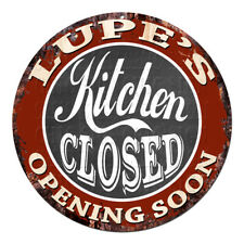 CWKC-0602 LUPE'S KITCHEN CLOSED Chic Tin Sign Decor Mother's day Gift