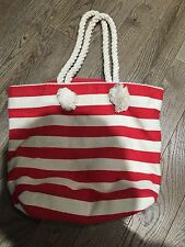 Nwt  Old Navy Canvas Tote Book Beach Bag Red Striped Vacation