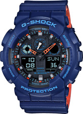 New G-Shock GA100L-2A Men's Analog Digital X Large Blue/ Orange G Shock Watch