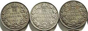 3 Canada George V Silver 25 Cents 1911 & 1912