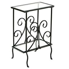 Metal Accent Table Metal Glass Sofa Chair Side End Small Decor Furniture Black