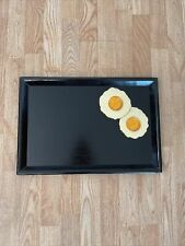 Vintage Dept 56 Black Painted Wooden Tray With Hand Painted Fried Eggs 19�x13�