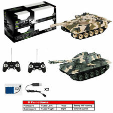 RC REMOTE CONTROL BATTLE TANK CAR 8 FUNCTION TWIN RECHARGEABLE INFRARED 2 PLAYER