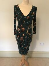 Oasis Dark Green Floral Print Jersey Dress Ruched Medium Summer Holiday Party