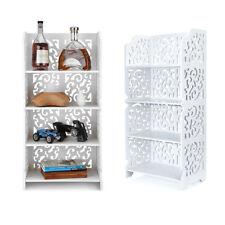 4 Tiers Corner Shelf Unit Storage Bookcase Display Stand Shoe Rack Bathroom