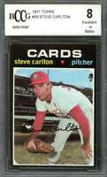 Steve Carlton Card 1971 Topps #55 St Louis Cardinals (50-50 Centered) BGS BCCG 8