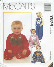 M 7874 sewing pattern Baby Child JUMPSUIT Bear Dog Lamb Bunny sew Sweet S,M,L,XL