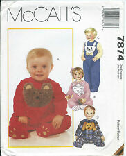 M 7874 sewing pattern Baby Child JUMPSUIT Bear Dog Lamb Bunny sew Sweet S,M,L,XL