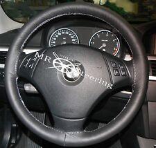Para Bmw X3 E83 100% Real Negro Cuero Italiano volante cubierta Gris Stitch